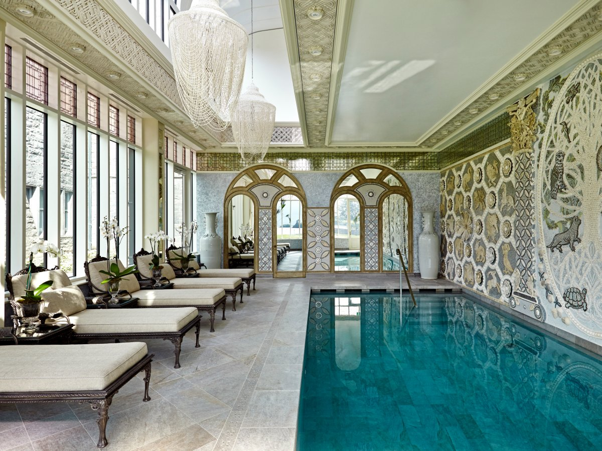But besides these amenities, there is also a relaxation pool for guests in a room accented by seashell chandeliers.
