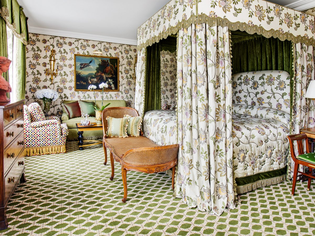 The colorful patterns in each suite vary to match guests' preferences, from rich reds to serene greens.