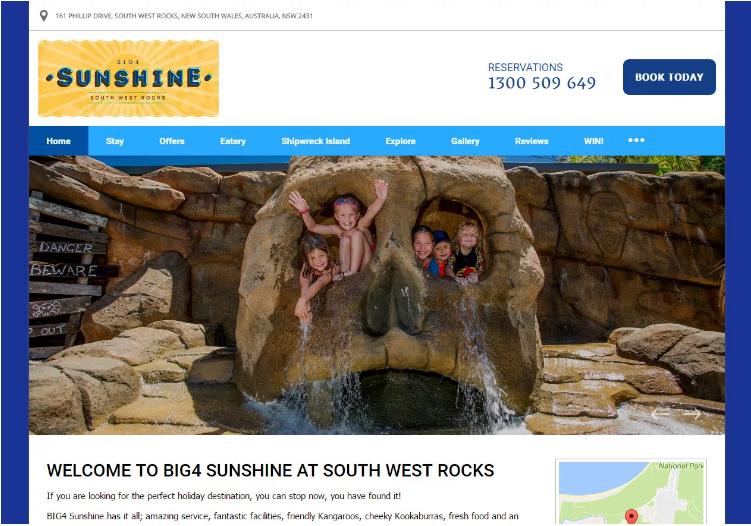 The Big4 Sunshine's homepage shows that their hotel is fun for the whole family.