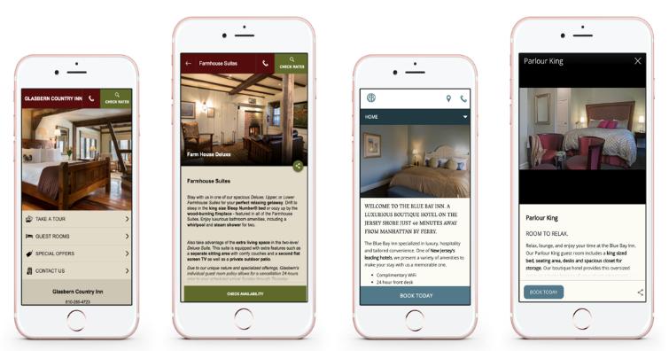Glasbern Inn's adaptive website (left) and the Blue Bay Inn's responsive website (right).