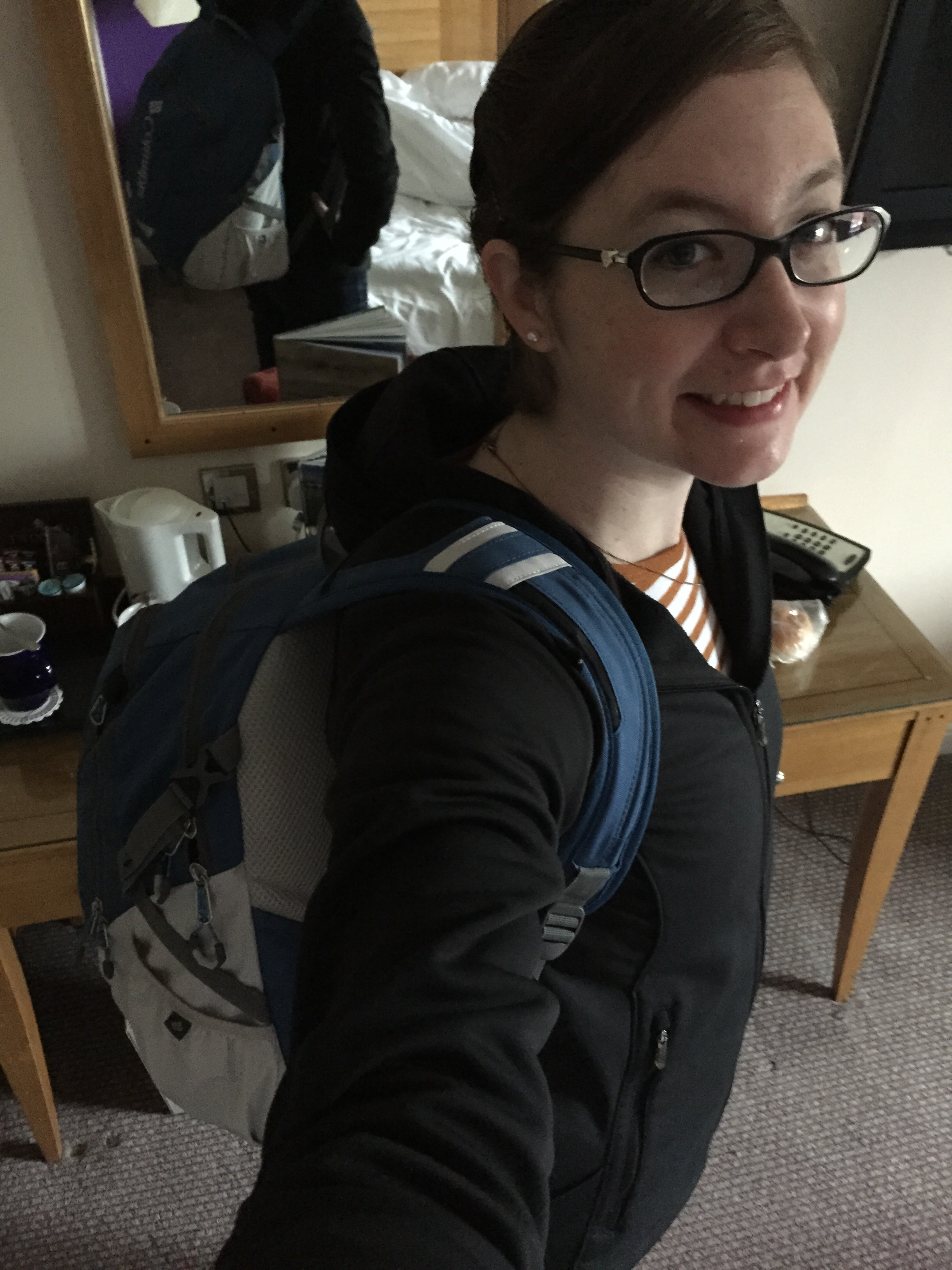 There's four days' worth of clothes on my back right there, plus a computer and two pairs of shoes.