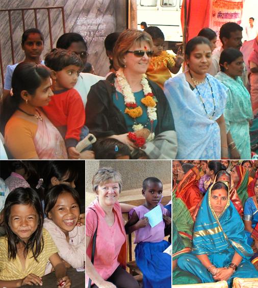 Girls and women from India, Cambodia, and Uganda