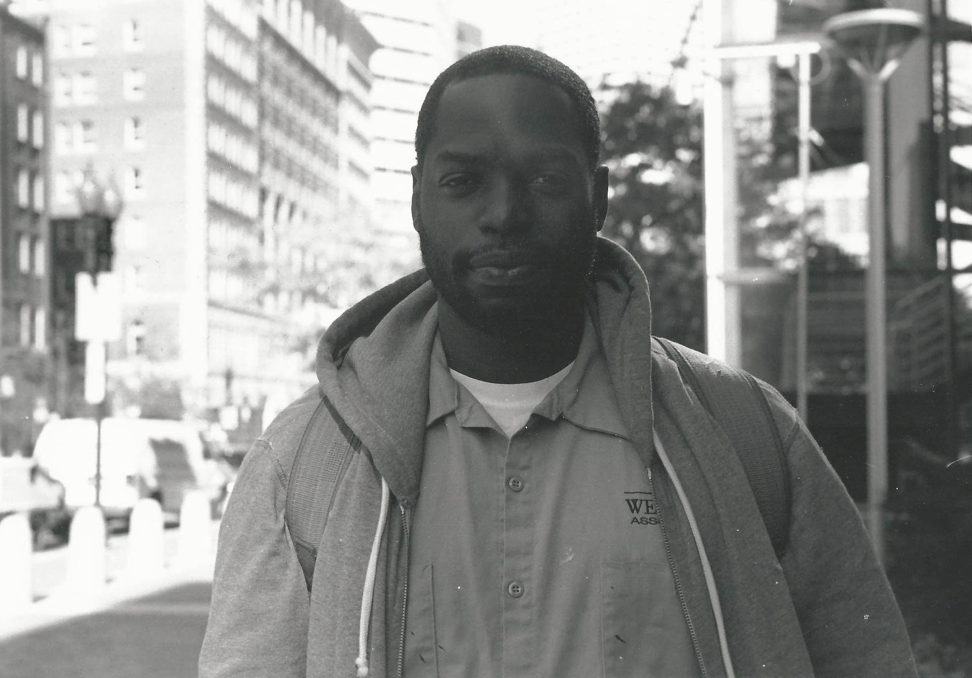 Finally got this photo developed. This was outside South Station. The man asked for a dollar for his bus ride home. I said I would give him a dollar if I could take his picture. This is the result. Canon AE-1 with a 50 mm f/1.8