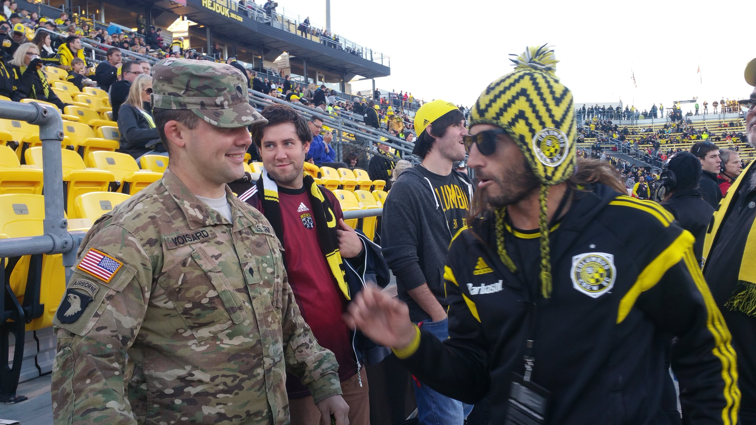 Alex before the match with Crew legend Frankie Hejduk.