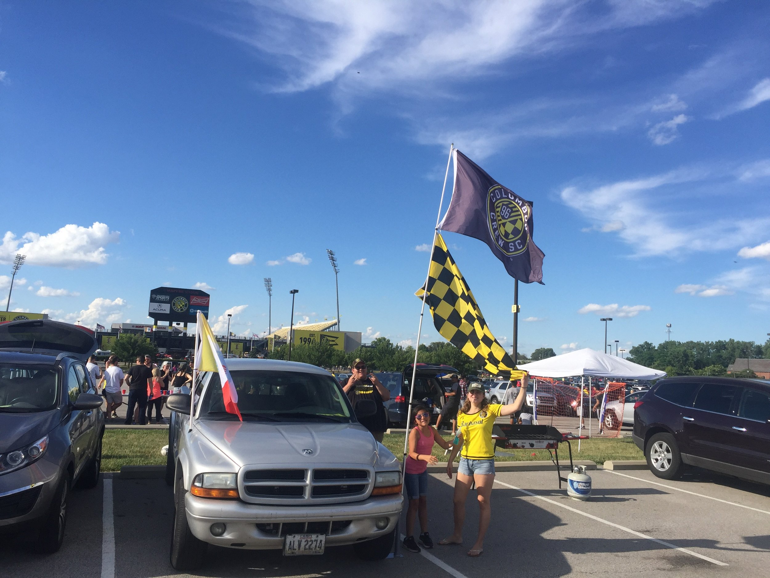 Setting up the tailgate at MAPFRE Stadium