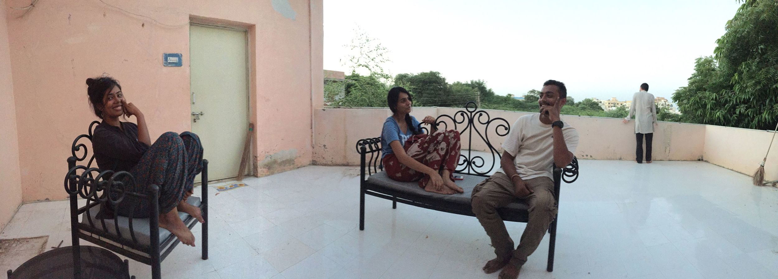 Hanging out with new friends on our terrace