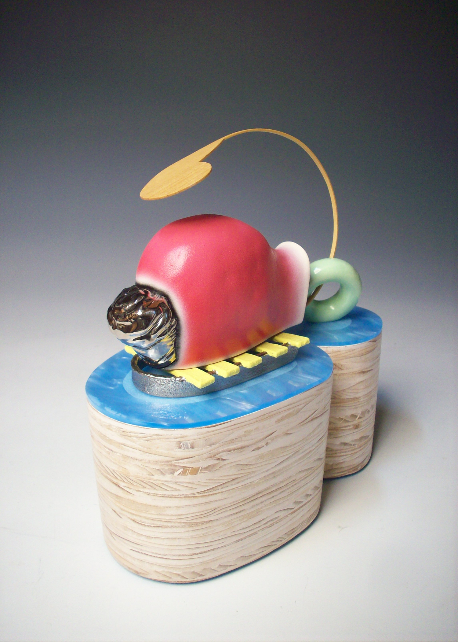 Chimpy Hits the Deck    White earthenware, glaze, luster, wood, paint, acrylic, mixed media