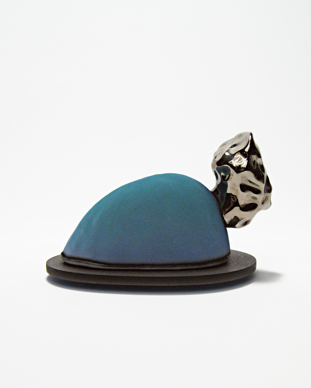 Hunking Wentworth: Chairman of the Board    White earthenware, underglaze, glaze, luster, acrylic