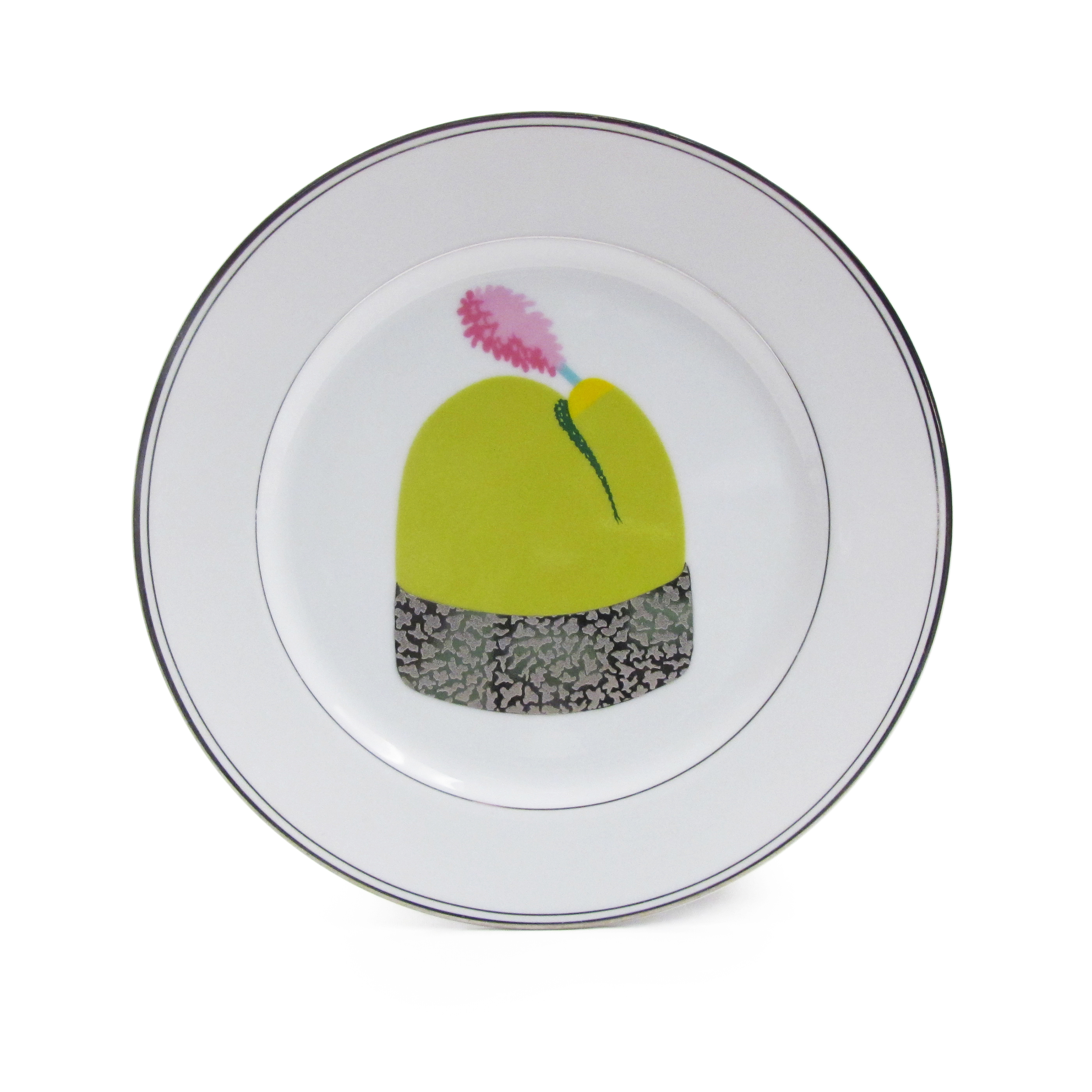 Decal Plate I   Bone china plate, decals, luster