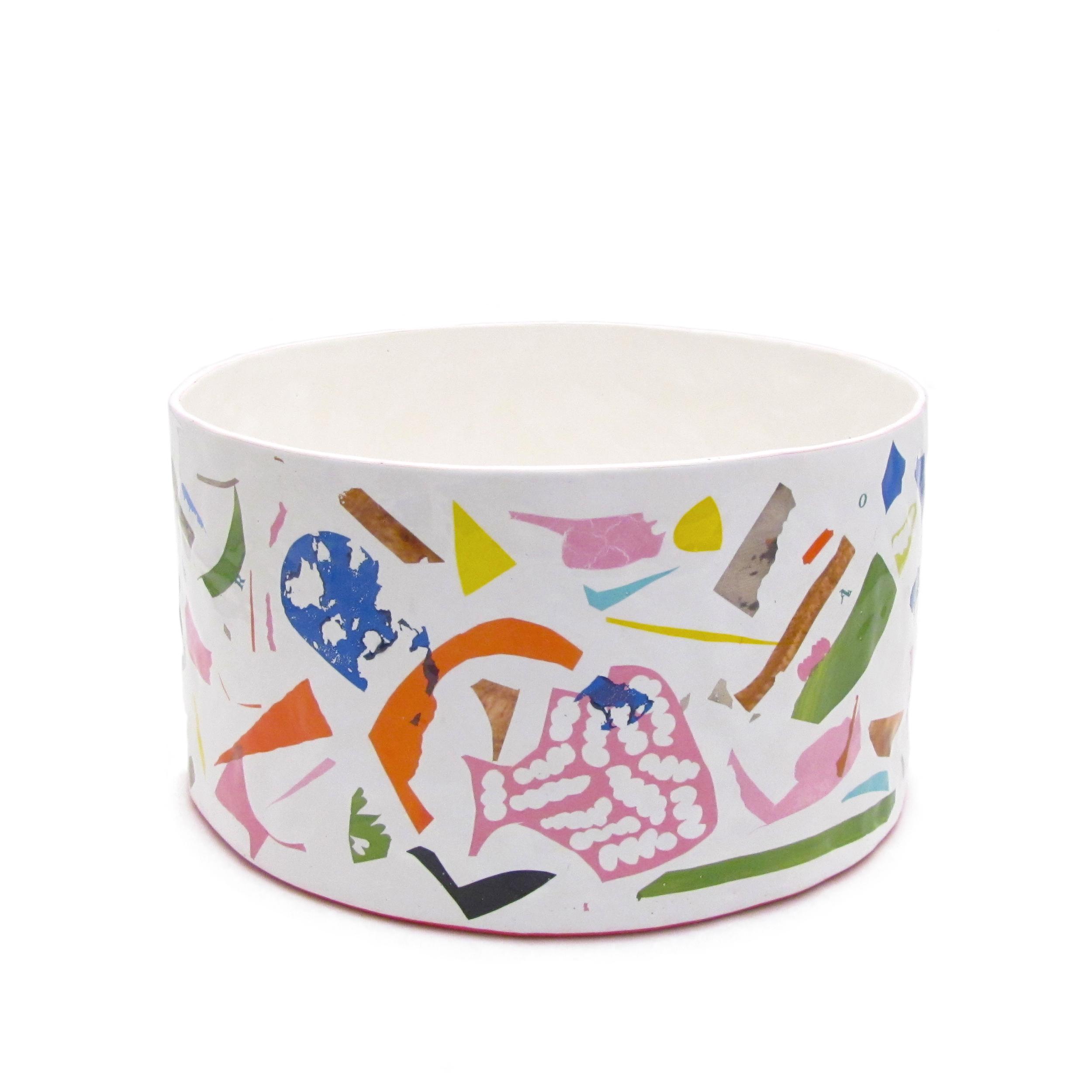 Short Scrap Vase   White earthenware, glaze, decals