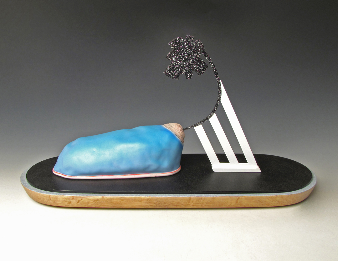 Fanfare for the Middle Man    White earthenware, underglaze, wood, paint, acrylic, mixed media