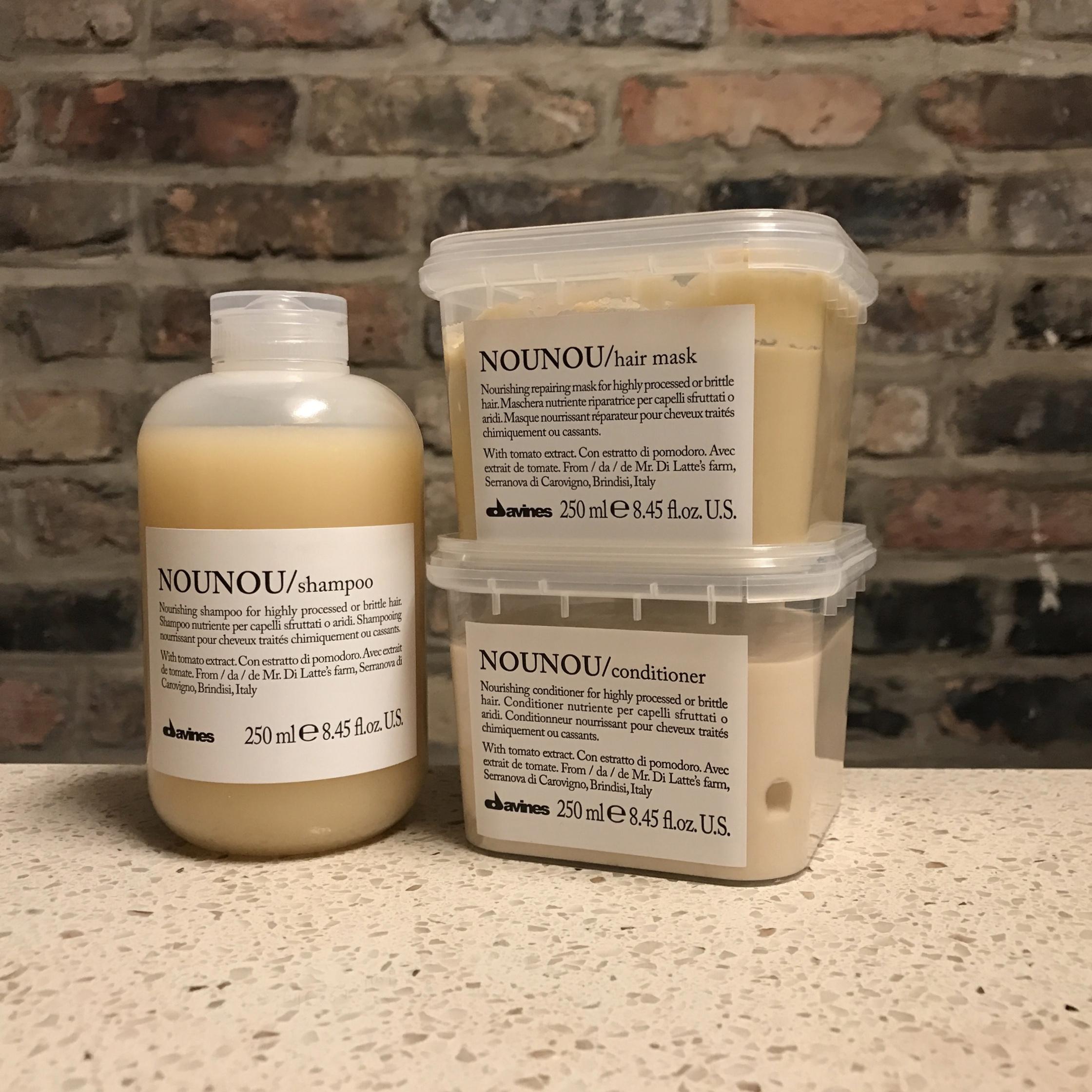 Davines NouNou: Shampoo ($26), Conditioner ($30), and Hair Mask ($34).