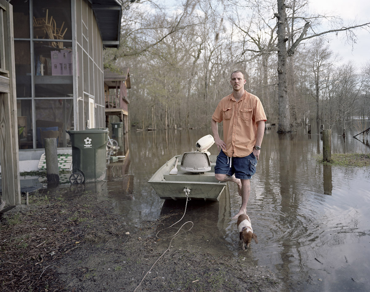 Taylor Outside his Home During Flood, Effingham County