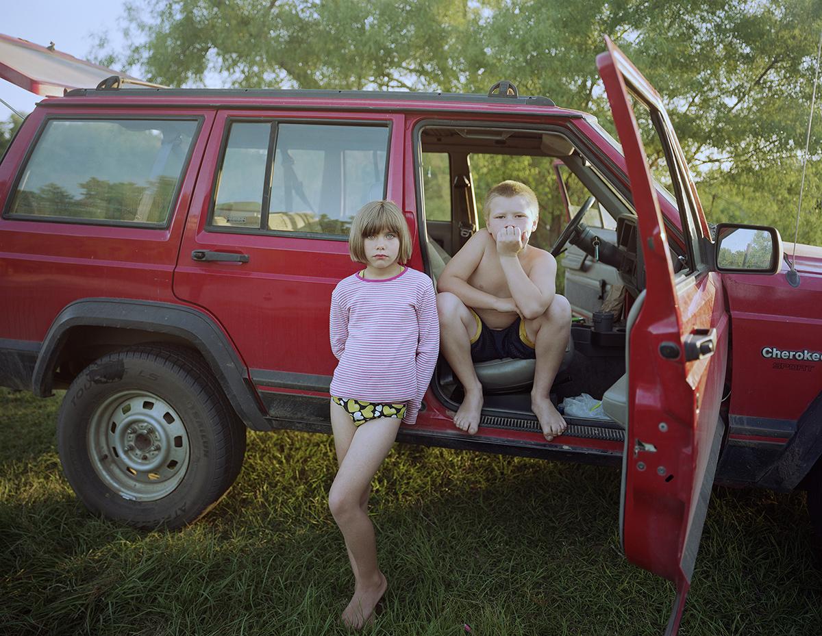 Kids under Highway 119 bridge, Effingham County