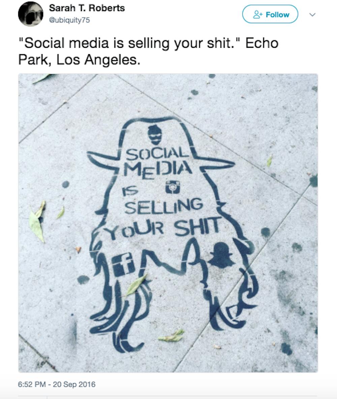 #socialmediaissellingyourshit Project by Blak Hat (@theblakhat) Photo Credit: Sarah T. Roberts (@ubiquity75) Location: Echo Park near Mohawk Bend, a restaurant on Sunset Blvd