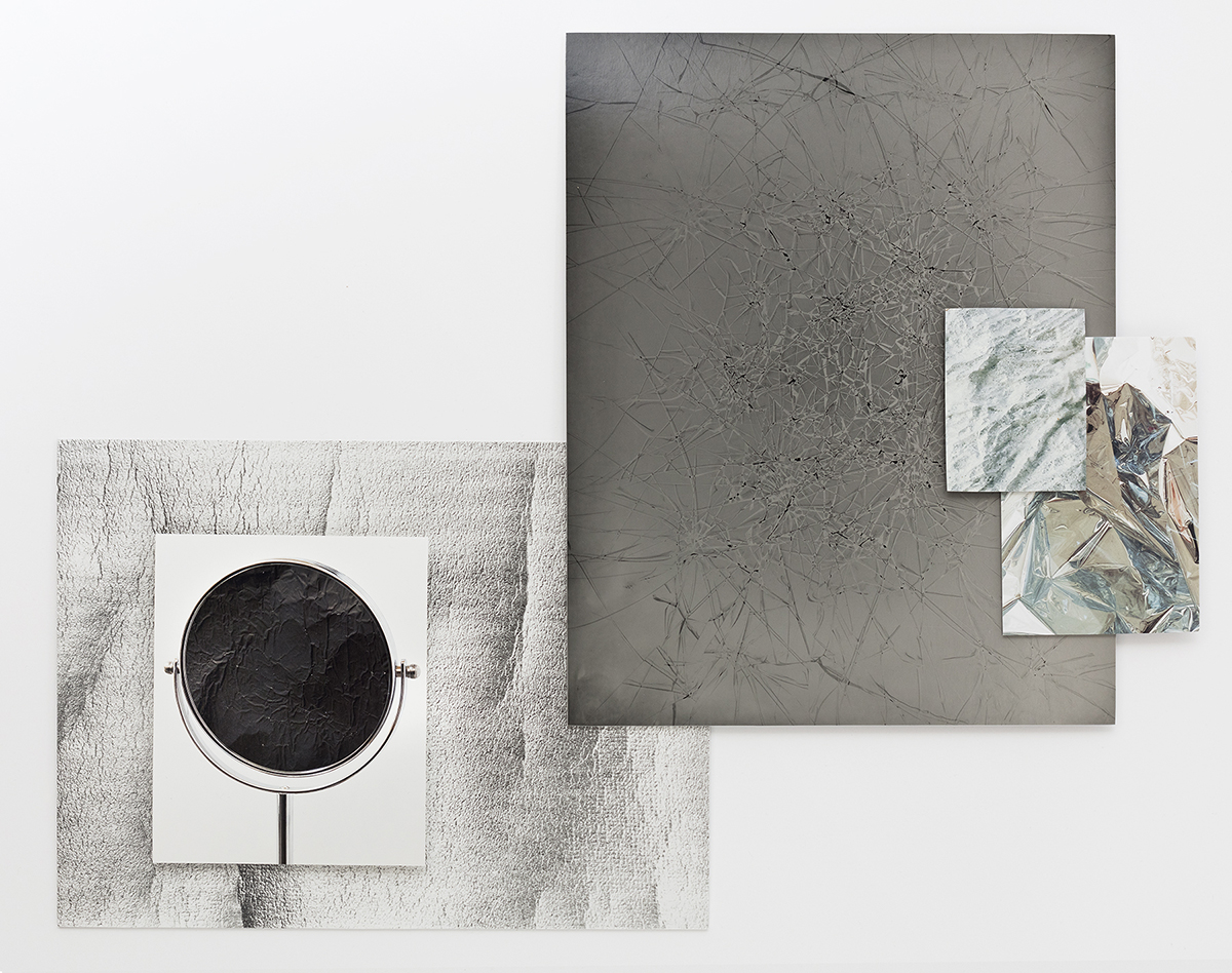 © Jennifer Brandon, Formations (detail), 2017. Affixed prints mounted on aluminum (From left: Silver gelatin fiber print, archival pigment print, unique solarized Silver gelatin fiber print, polaroid and metallic print). Image courtesy of the artist.