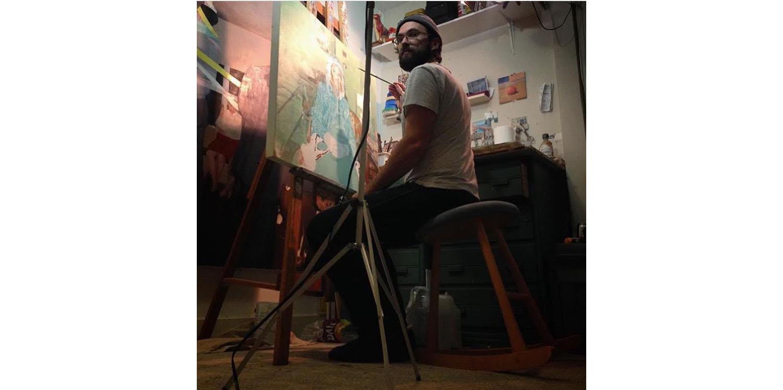 Justin Duffus in his studio