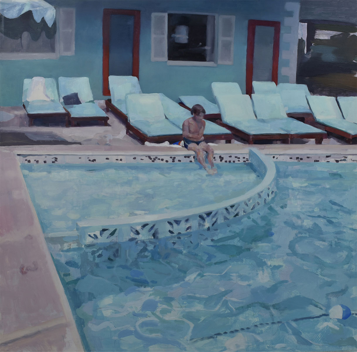 """Poolside, 2018. 24"""" x 24"""" oil on panel. © Justin Duffus. Courtesy of Justin Duffus and Linda Hodges Gallery"""