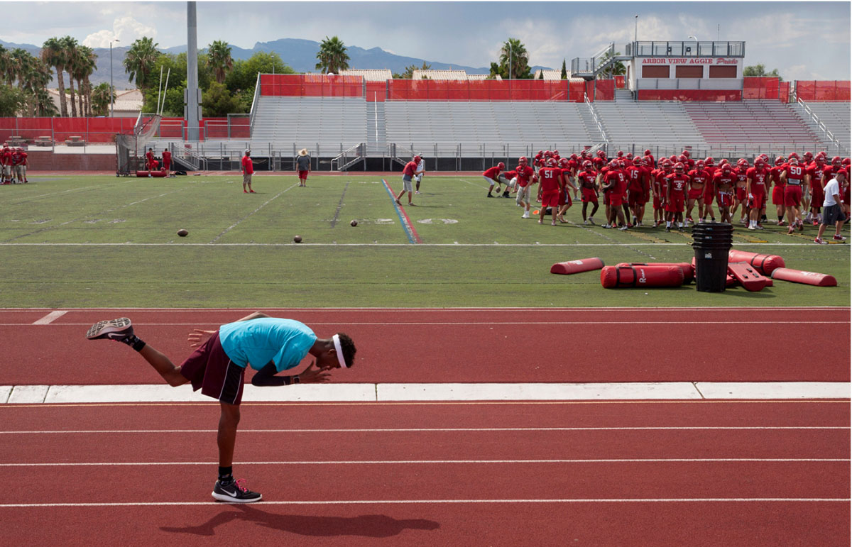 Arbor View varsity's Keith Williams stretches before practice at Arbor View High School in Las Vegas, on Tuesday, Aug. 29, 2017.  © Gabriella Angotti-Jones