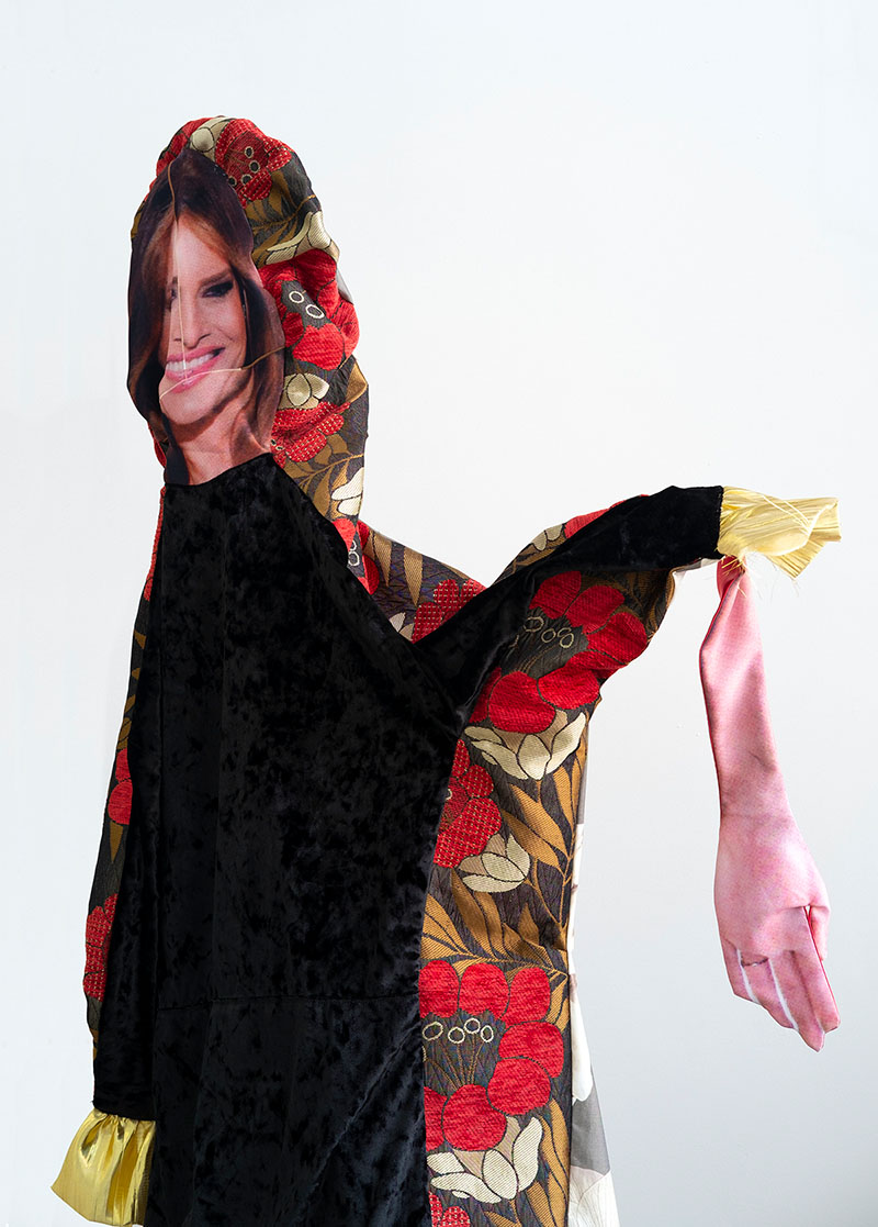 Melania Trump, 2018  © Bean Gilsdorf. Velvet, cotton, polyester, chenille brocade, wood, paint; approx. 66 x 37 x 29 in.
