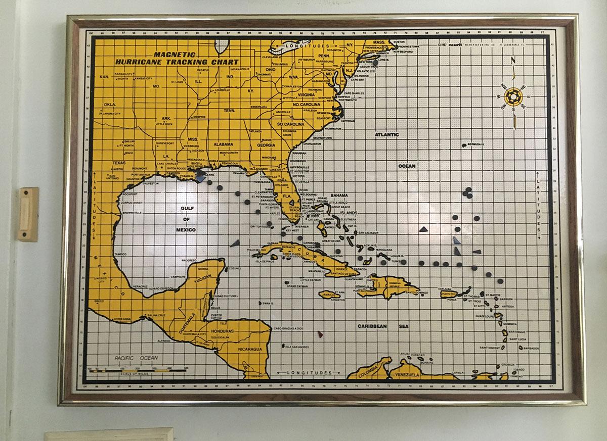 Hurricane Tracking Chart, Annette Bowman's Home. Berwick, LA. September 2017. © Zoe Strauss