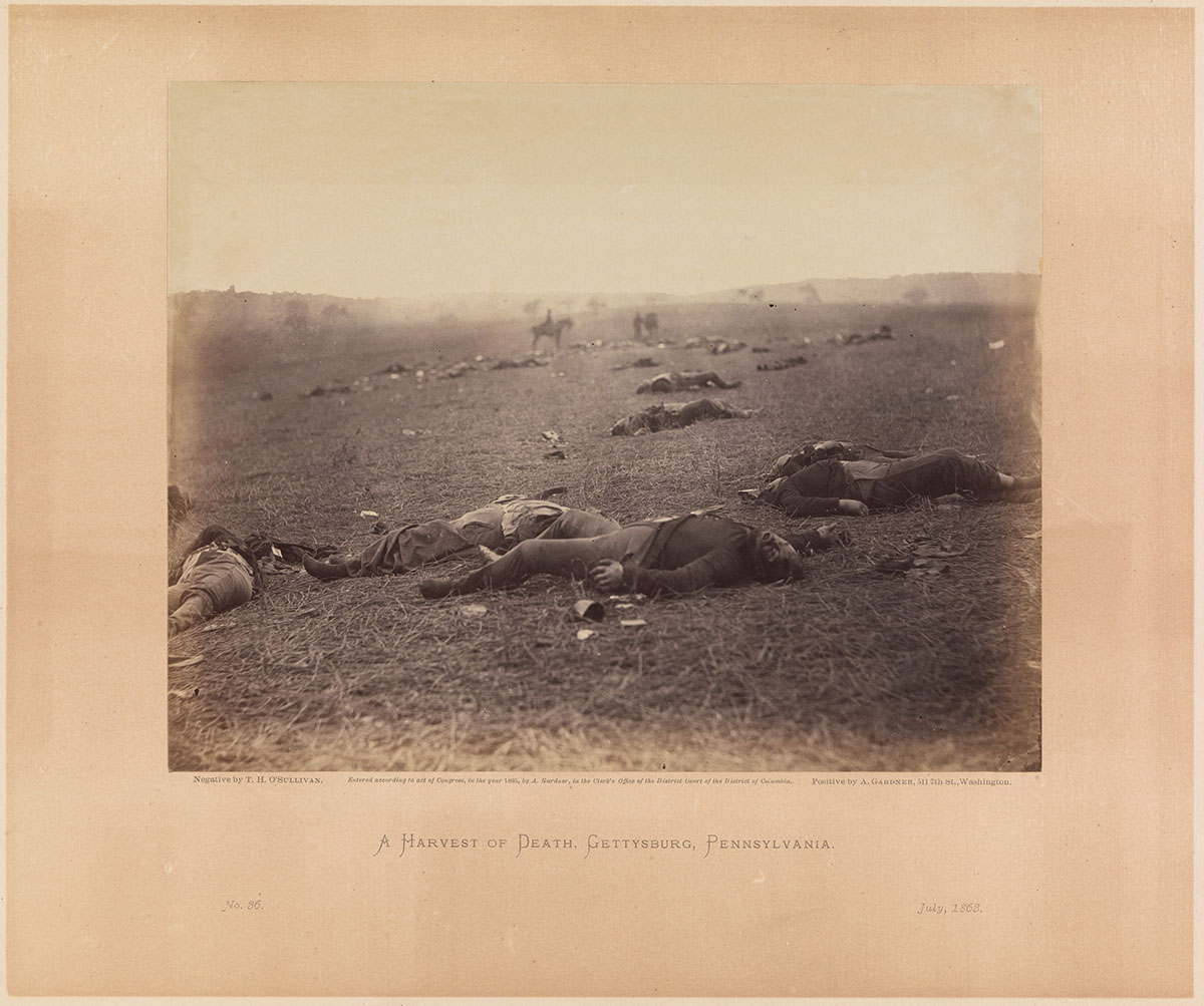 A Harvest of Death. Gettysburg, Pennsylvania July 1863  © Timothy O' Sullivan (public domain)