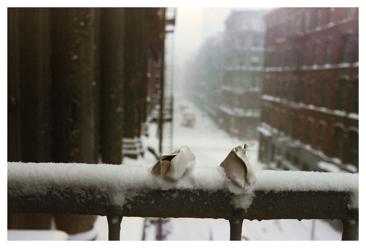 © Hannah Wilke Untitled, 1978, Glazed Ceramic Sculptures on Fire Escape, in Snow, with View of Street, 16 x 24 inches