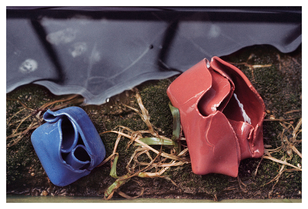 © Hannah Wilke Untitled, 1978, Two Glazed Ceramic Sculptures in Flower Box, 16 x 24 inches