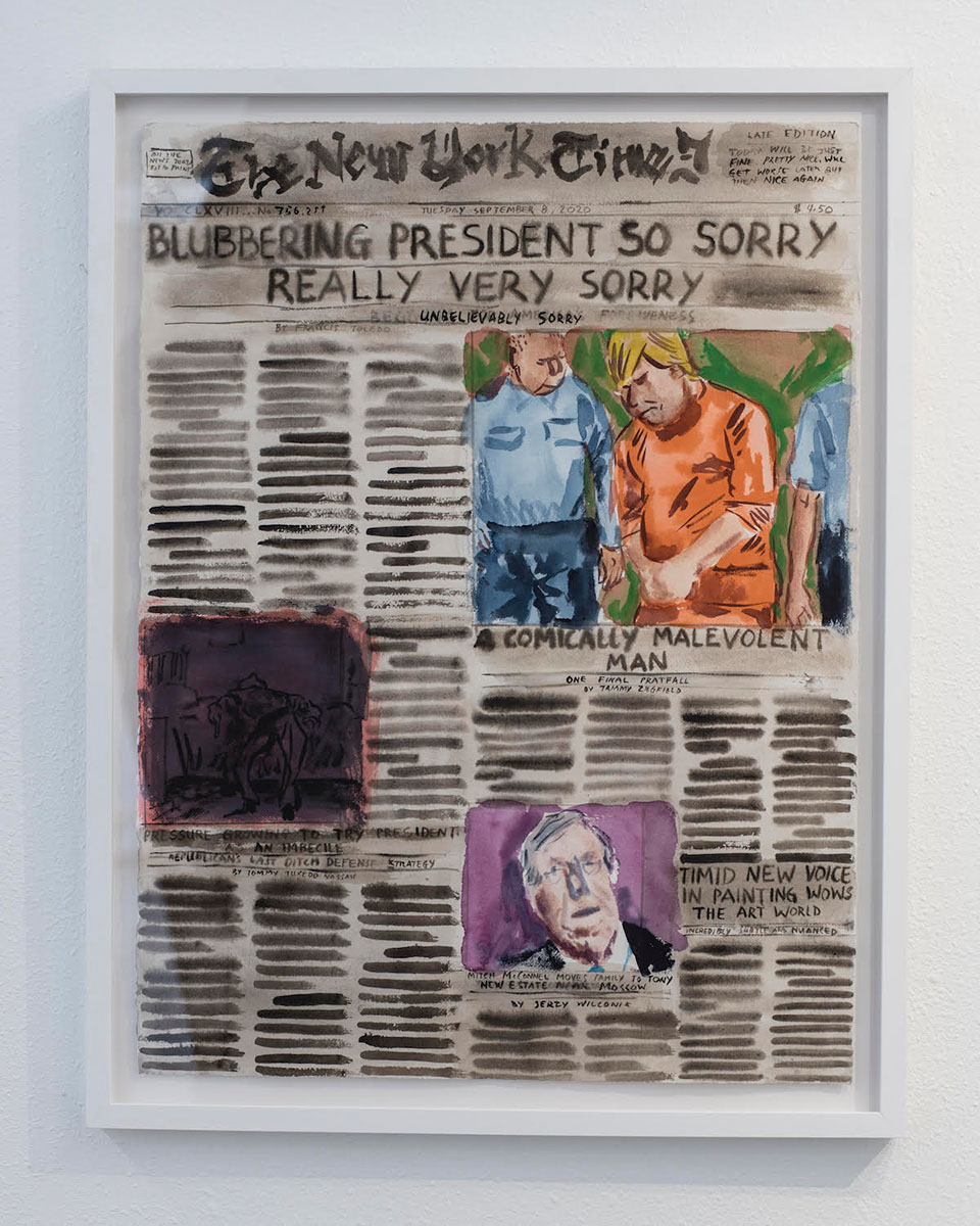 New York Times, Tuesday September 8, 2020, 2019 Watercolor on paper. © Guy Richard Smit