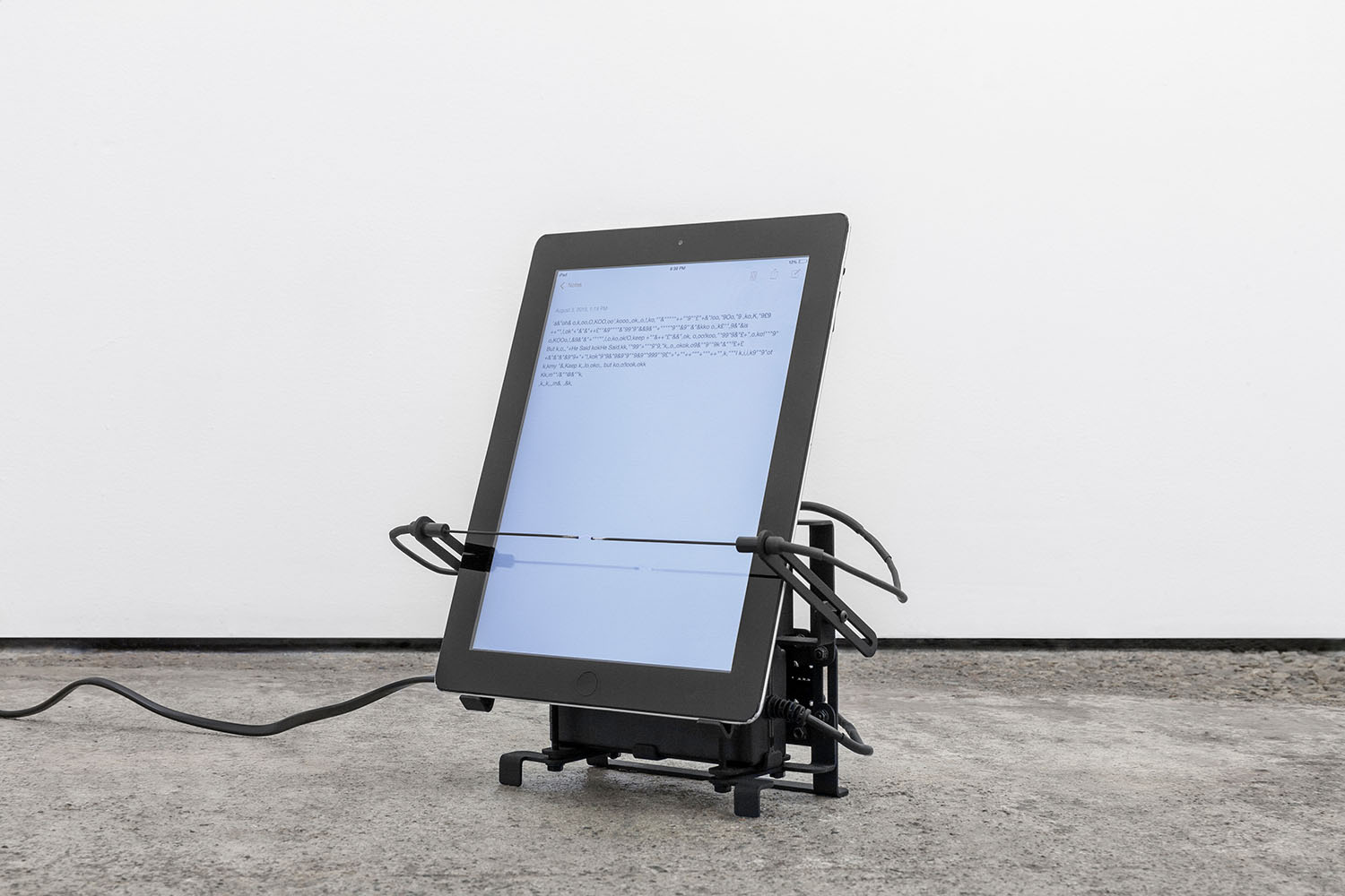 Possession Without the Body #6 (2019)  Dimensions variable. Water-jet cut steel, Apple iPad, electrical components, electricity. © Mathew Kneebone