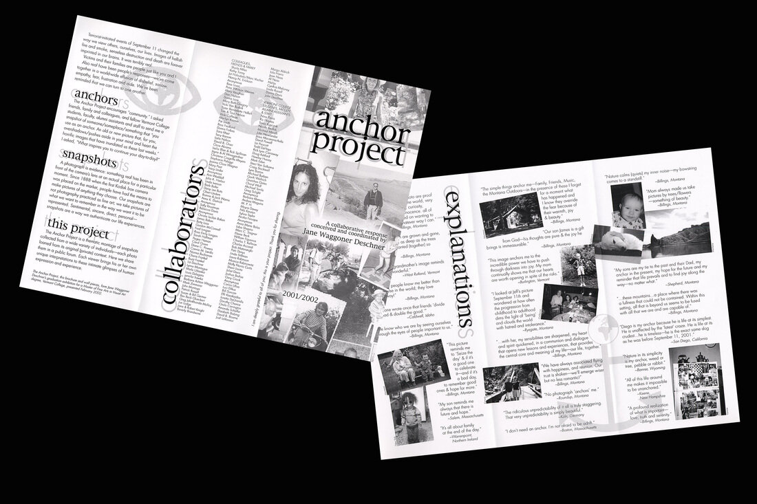 """The brochure from  The Anchor Project  - Jane Waggoner Deschner's 2002 MFA thesis exhibition responding to September 11. Friends, family, and colleagues were invited to bring a snapshot of something that """"anchored"""" them."""