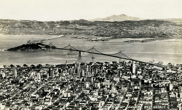 AERIAL VIEW OF THE SAN FRANCISCO-OAKLAND BAY BRIDGE IN 1936 | Photo by James Kenneth Piggott