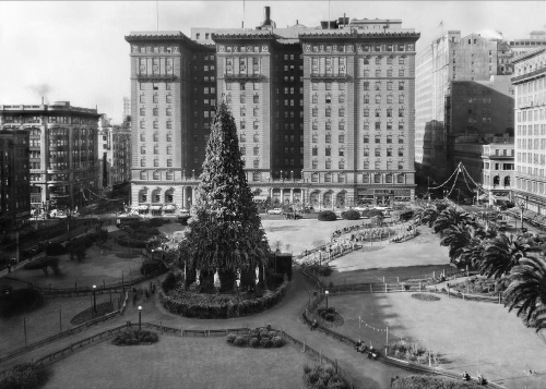 The Christmas tree in Union Square, 1910. | Source: Oakland Public Library history room