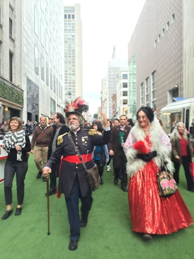 Emperor Norton, played by Campaign board memberJoseph Amster, leads the procession down Stockton Street (l to r): Heather Miller, Mike Cohen, Kevin Flaherty (background), Kai Mactane, the Emperor, Ali Peterson, Matt Freedman and the Countess.  PHOTO:Andy Wernette.