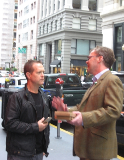 Founding Member of the Campaign Andy Wernette (l) with John Lumea outside The House of Shields.