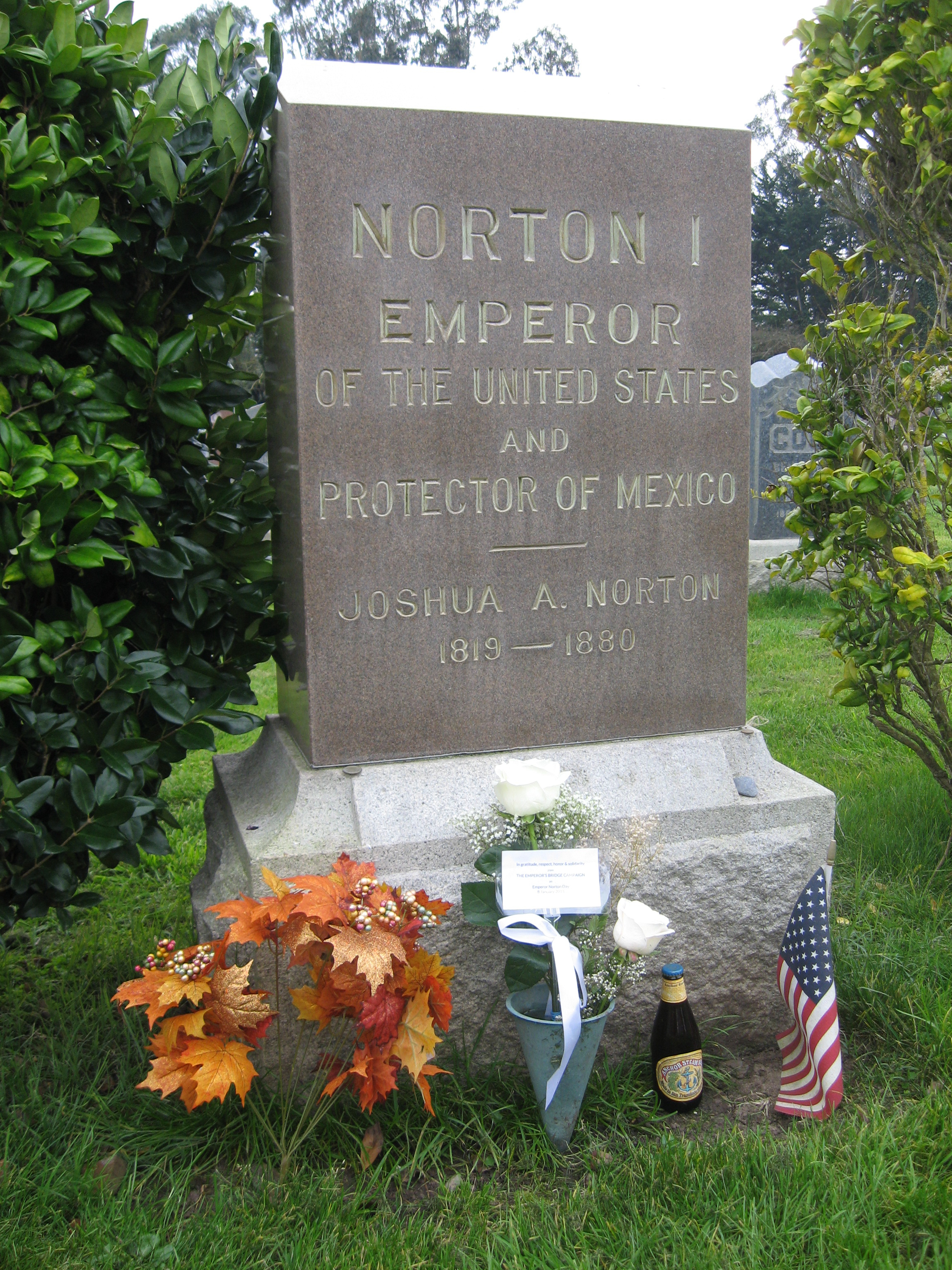 Headstone at Emperor Norton's grave in Woodlawn Memorial Park, Colma, Calif. PHOTO: John Lumea (taken on Emperor Norton Day (8 January) 2015).