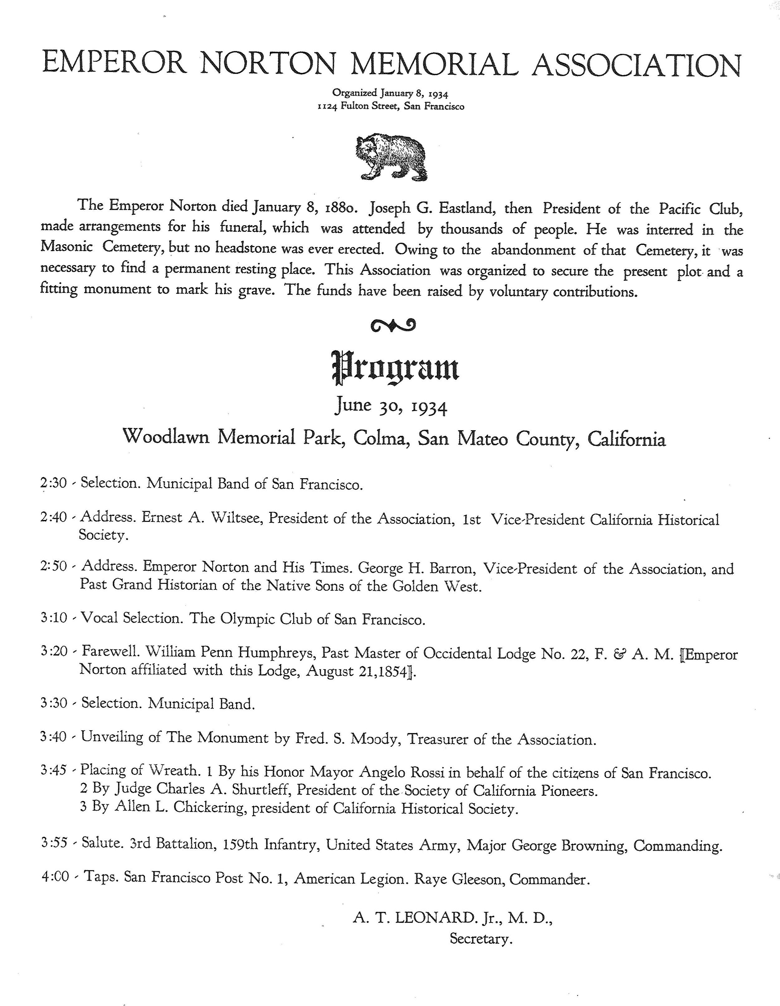 Program for 1934 service of Dedication for Emperor Norton's new resting place and gravestone at Woodlawn Memorial Park, Colma, Calif. VIA:  Jewish Museum of the American West .