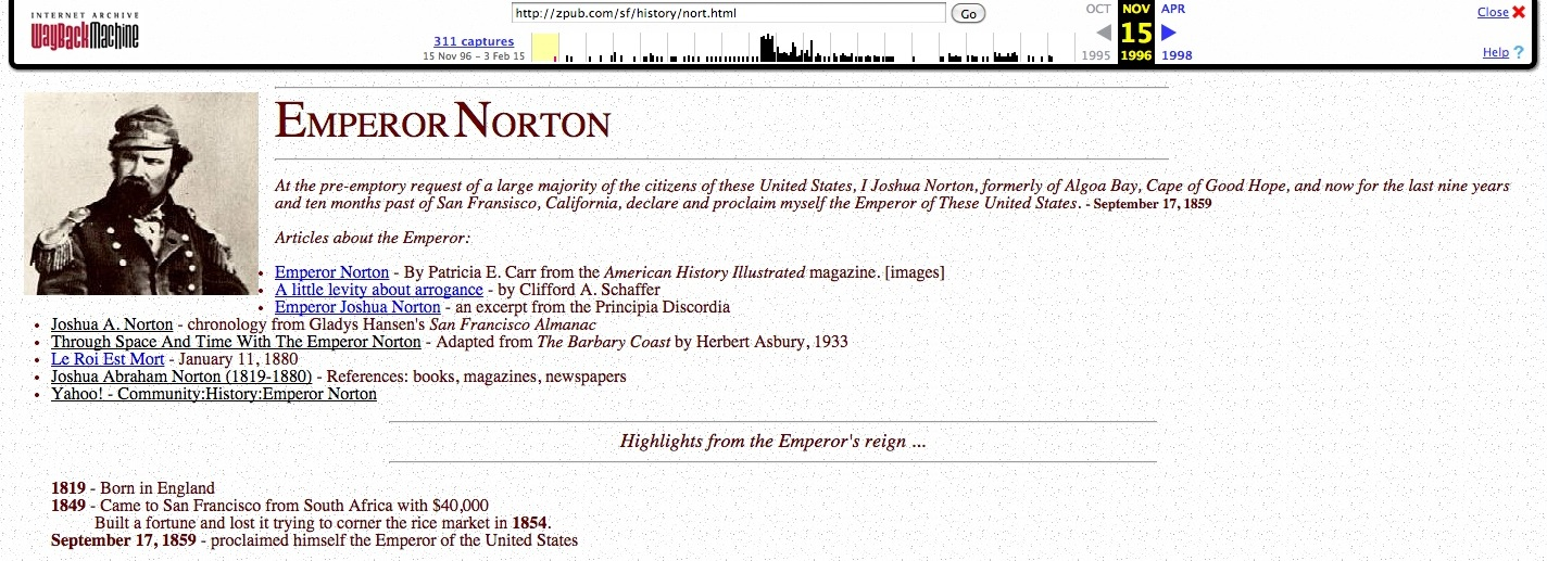 Screenshot from15 November 1996 cache of Emperor Norton page at  Zpub.com.   Source: Internet Archive.