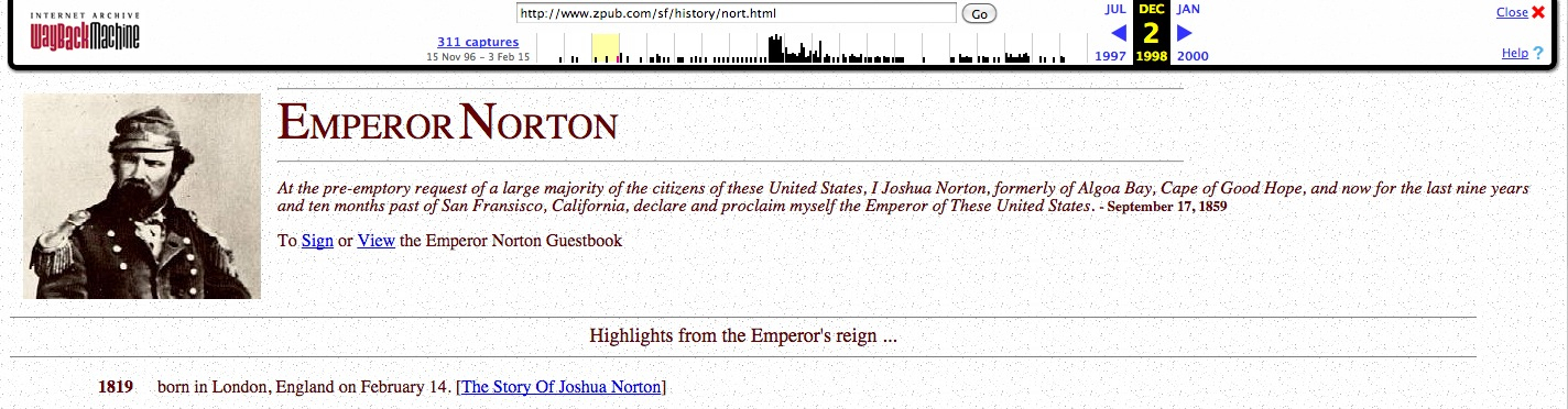 Screenshot from2 December1998cache of Emperor Norton page at  Zpub.com.   Source: Internet Archive.