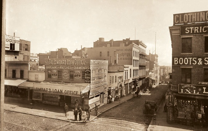 The block of Commercial Street, in San Francisco, where Emperor Norton lived from 1863 until his death in 1880.   This 1888 photograph captures the view looking east from Kearny Street.    Source:  California Views: The Pat Hathaway Photo Collection .