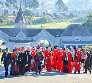 On Sunday 15 February 2015, the Imperial Court's40th anniversary procession to the graves of Emperor Norton and Jos  é  Sarria, the Widow Norton, gets underway.  Photo: Rick Gerharter.