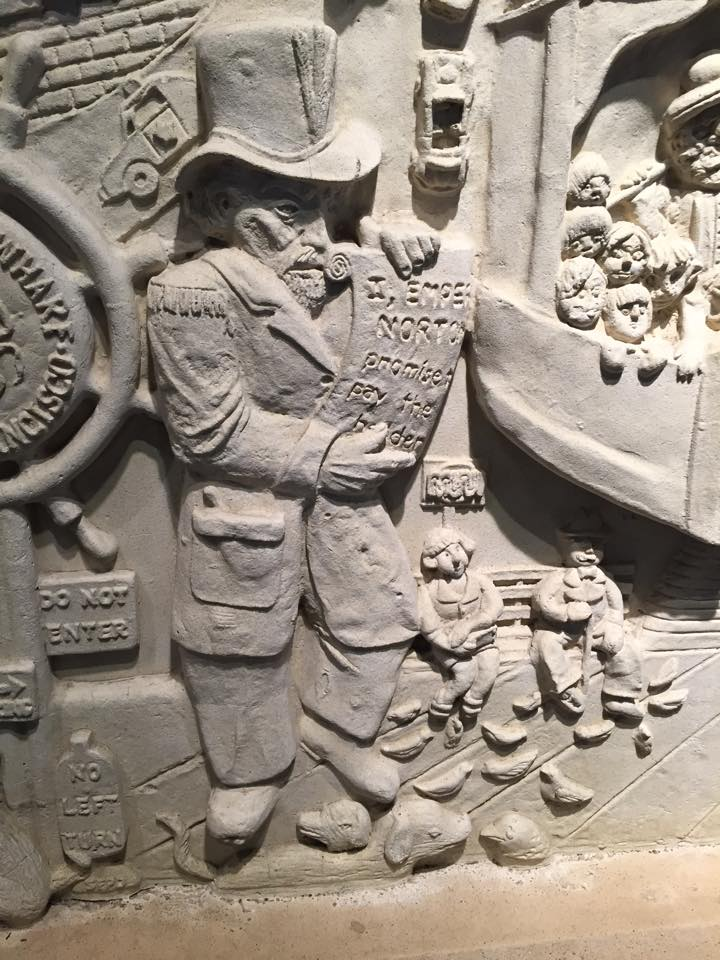 Detail of panel from sculpture,   San Francisco Yesterday and Today   (1984), by Ruth Asawa (1926     –   2013), at the Parc 55 Hilton hotel in San Francisco.   Photograph: Joseph Amster .