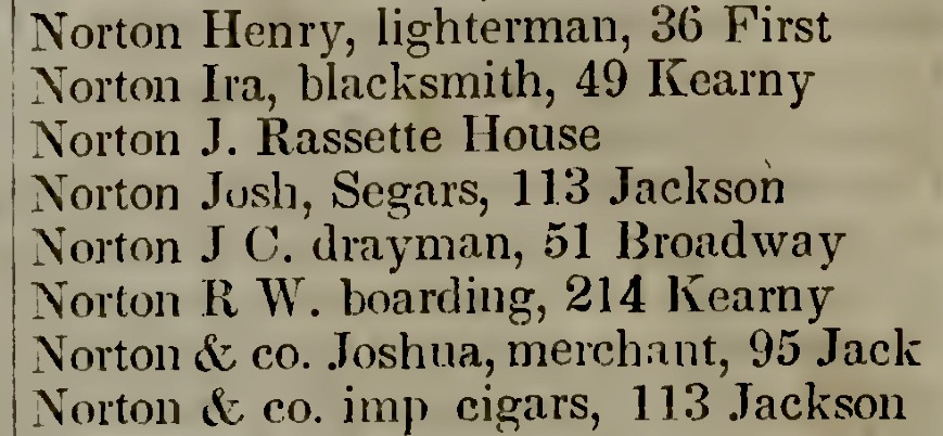 Screenshot of Parker's San Francisco Directory for 1852-53, p. 81.  Source:  Internet Archive .