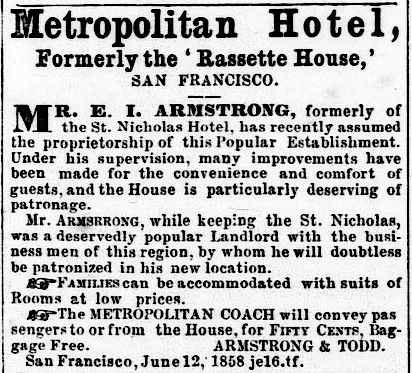 Ad for the Metropolitan Hotel in the  Mariposa Gazette  of 1 January 1861.  Source:  California Digital Newspaper Collection .
