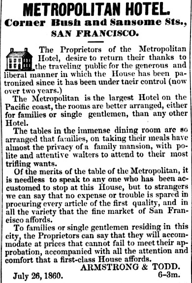Ad for the Metropolitan Hotel in the  Visalia Weekly Delta  of 18 August 1860.  Source:  California Digital Newspaper Collection .