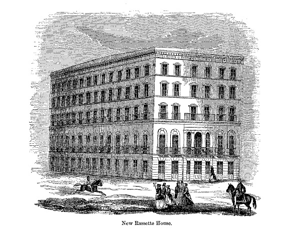 Engraving of the newly rebuiltRassette House, in  The Annals of San Francisco  (1855). The original hotel, where Joshua Norton had lived in 1852 and 1853, was destroyed by fire in May 1853. In 1858, this new building began operating as the Metropolitan Hotel; Emperor Norton lived here in 1861 and 1862.   Source: Making of America Digital Library .