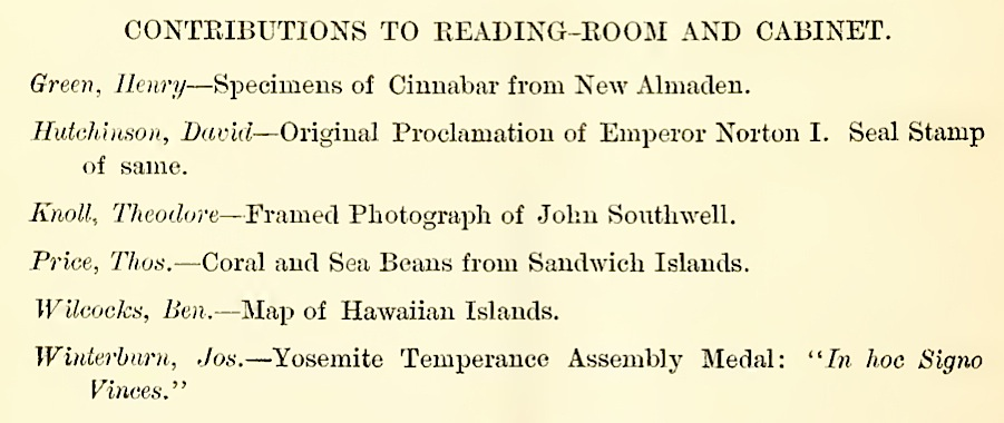 Detail from Twenty-Fifth Annual Report of the Odd Fellows' Library Association of the City and County of San Francisco, for 1879-80, p. 24. |  Source: Internet Archive .