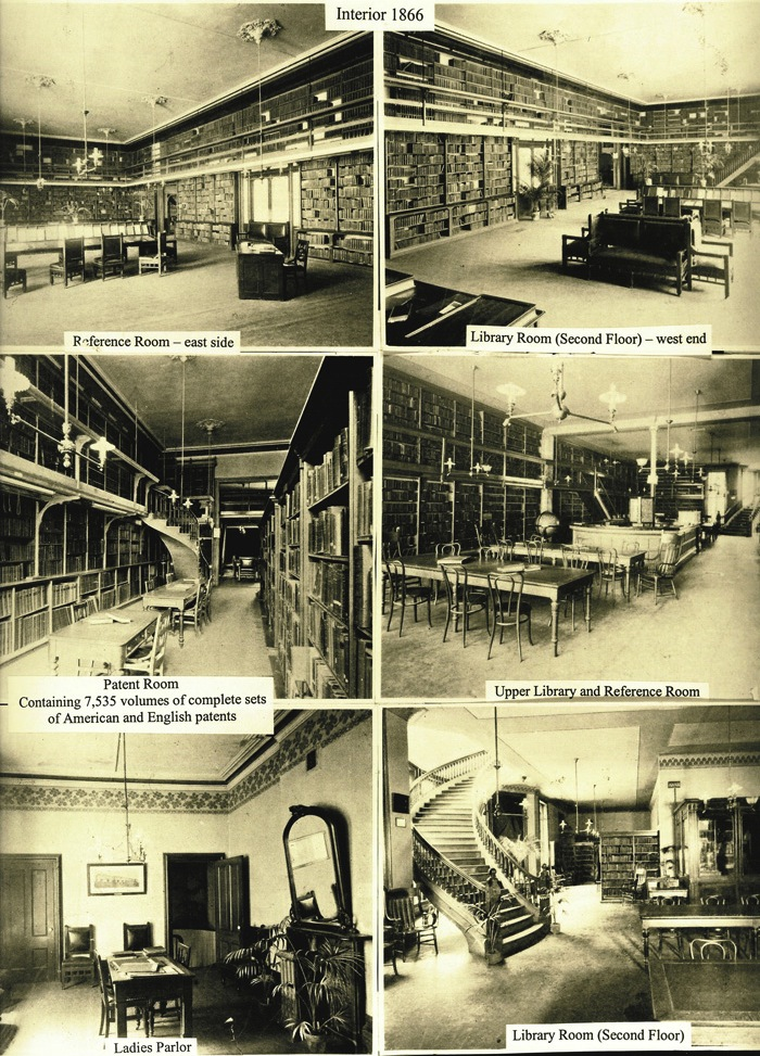Interior photographs of the Mechanics' Institute's 1866 building at 37 Post Street, in San Francisco. This was Emperor Norton's most regular afternoon haunt — andthe place where he wrote most of his proclamations.  Source:  Mechanics' Institute .