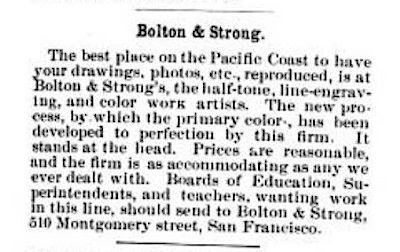 Advertisement for Bolton & Strong's in  Western Journal of Education , volume 2, number 1, June 1896. Source:  Google Books .