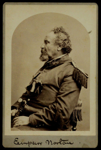 Cabinet card of Emperor Norton, c.1878, by Bradley & Rulofson. Collection of The Gilder Lehrman Institute of American History.
